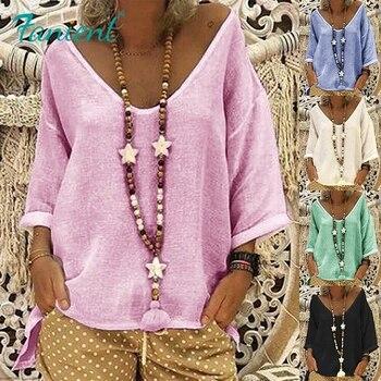 Blusa de lino de Color sólido para mujer, estilo Casual de media manga con cuello en V profundo, Blusas sueltas Vintage, jerséis, camisas 5XL, Color rosa y negro