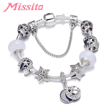 MISSITA Moon Star Series Charm Bracelet with White Murano Bead Hollow Pendant Bracelets for Women Brand Jewelry Anniversary