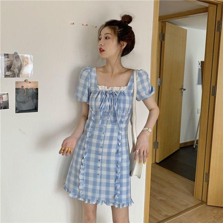 Qweek женское платье в клетку во французском стиле милый клетчатый