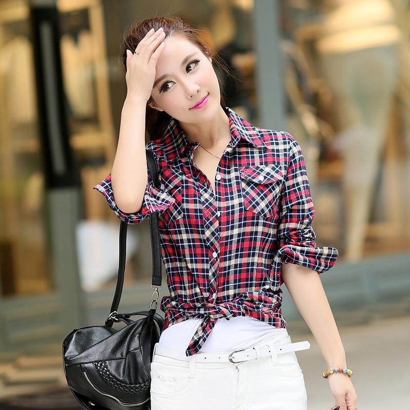 Autumn Spring Blouses Fashion Turn Down Collar Cotton Tops Women's Plaid Shirt Office Work Slim Long-Sleeve Shirts Blusas Mujer 3