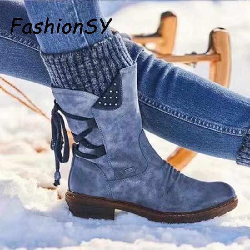 Warm Vrouwen Laarzen 2019 Herfst Winter Vintage Flat Lace Up Schoenen Snowboots Breien Patchwork Vrouwelijke Mid Kalf Laarzen