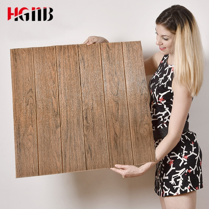 DIY Self Adhesive Waterproof TV Background Wood Grain 3D Wall Sticker Living Room Wallpaper Mural Bedroom Decorative Stickers