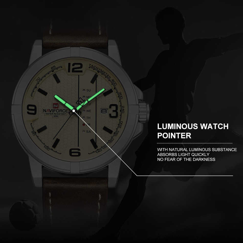 2020 Luxury Brand NAVIFORCE วันที่สัปดาห์นาฬิกาควอตซ์ Casual กีฬาทหารหนัง PU นาฬิกาข้อมือชาย Relogio Masculino นาฬิกา