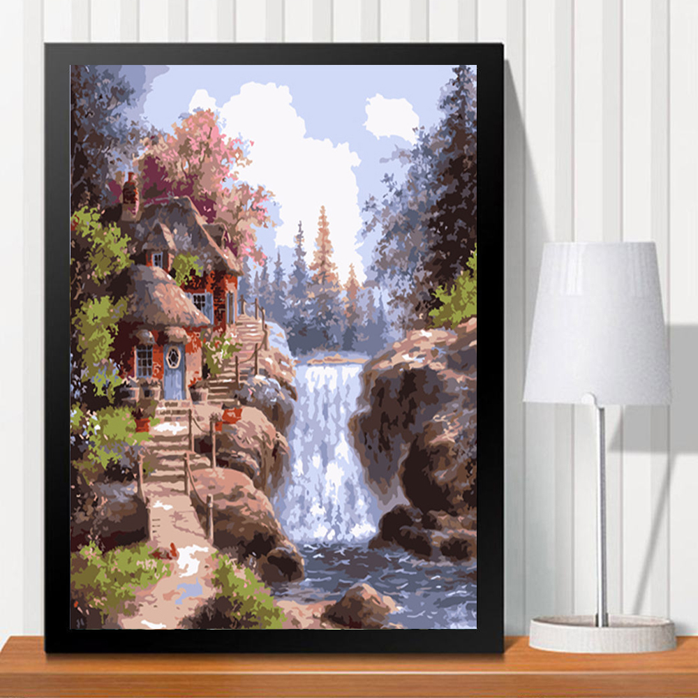 HUACAN Oil Painting By Numbers Landscape Acrylic Drawing Canvas Waterfall Picture For Adult Wall Art DIY Home Decor
