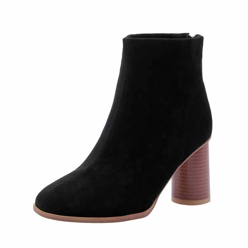ESVEVA 2020 automne femmes chaussures hiver bottines carré haut talon fermeture éclair troupeau bout pointu moto plate-forme bottes taille 34-43