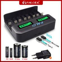 Умное зарядное устройство palo с 8 слотами usb для аккумуляторных