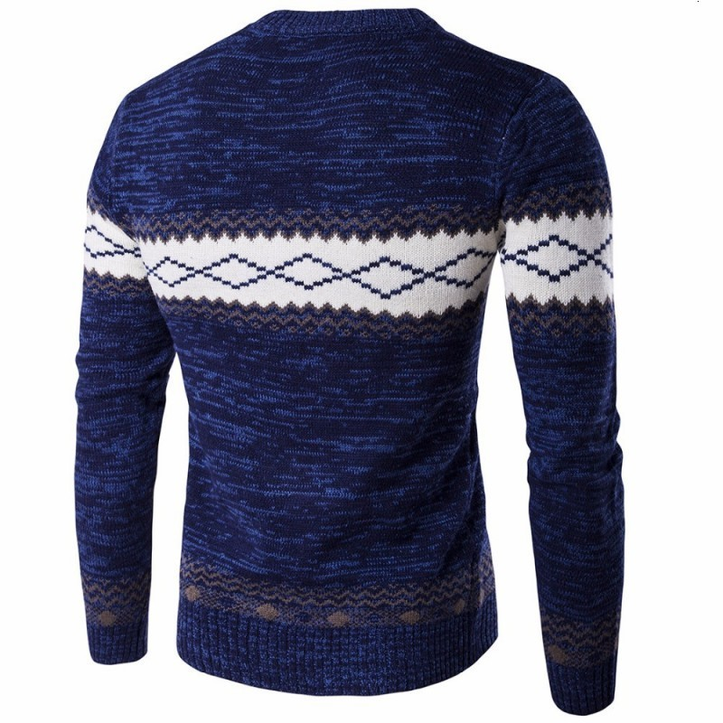 Korean Mens Knitted Sweater O Neck Long Sleeve Male Pullover Fitness Tops Fashion Pattern Design Size S-3XL Casual Sueter Hombre
