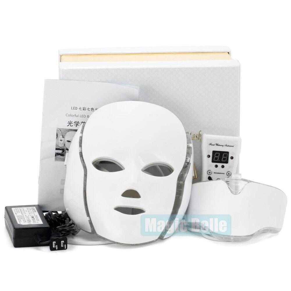 Hottest 7 Colors LED Photon Mask Machine Therapy Face Acne Whitening Mask Neck Beauty Led Mask