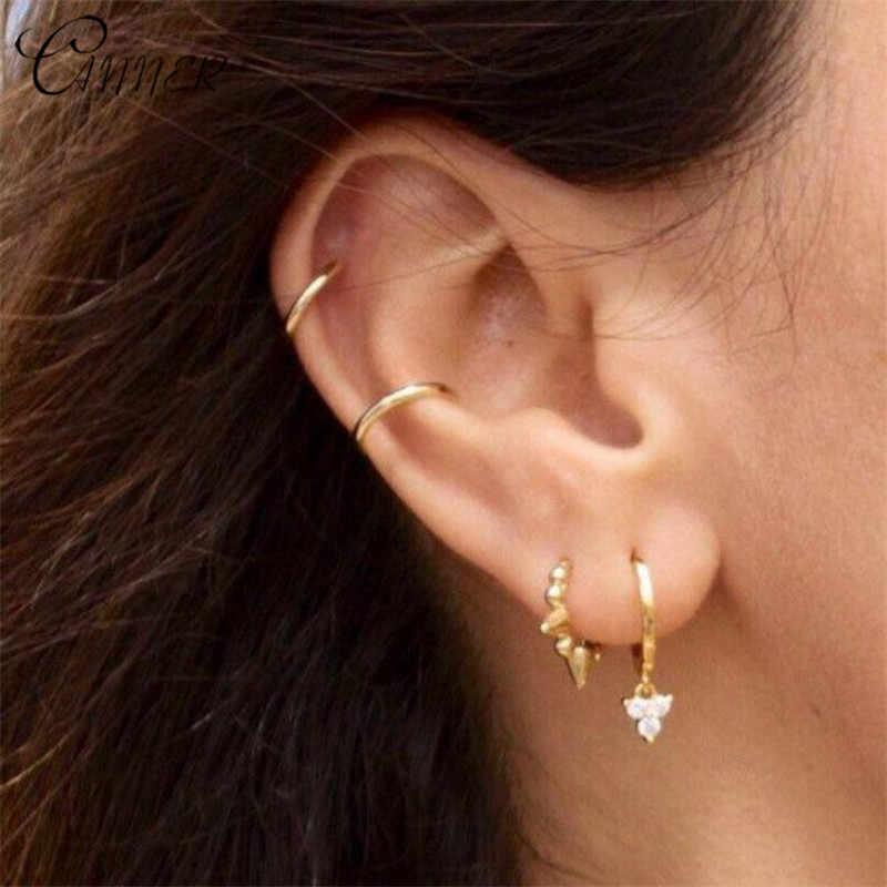 CANNER Simple Fashion Small Ear Cuff Clip on Earrings for Women Jewelry Korean Earcuff Non Pierced 925 Sterling Silver Earrings