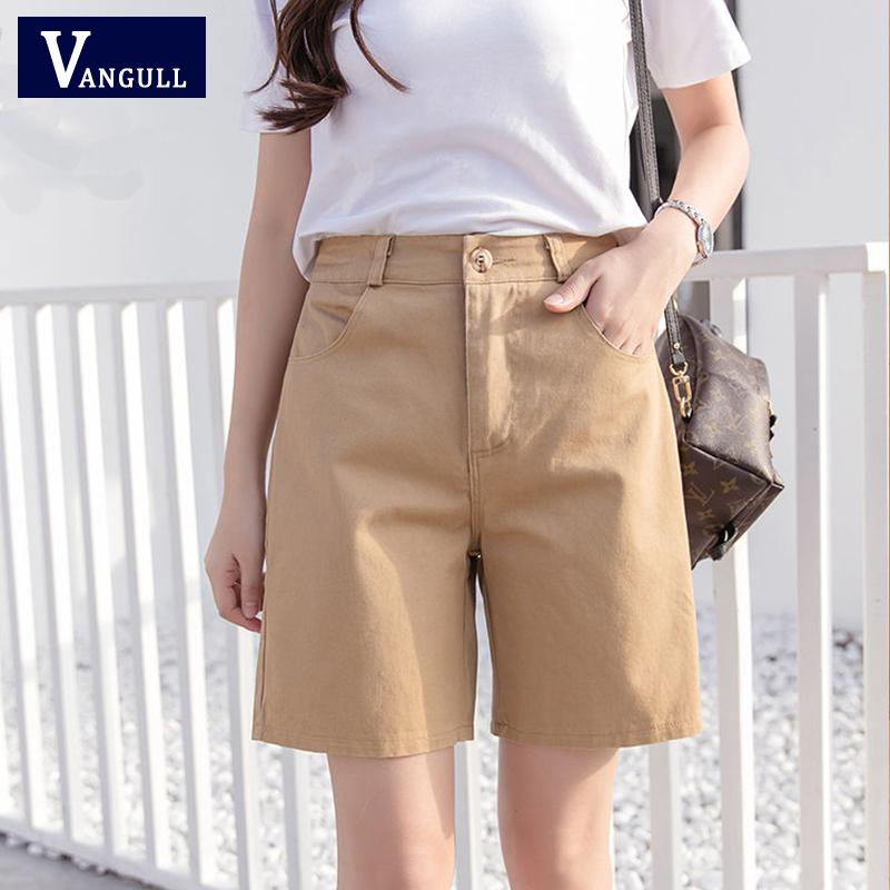 Vangull Safari Style Knee-length Straight Shorts High Elastic Waist Loose Slim Comfortable Shorts Simple Solid Casual Shorts