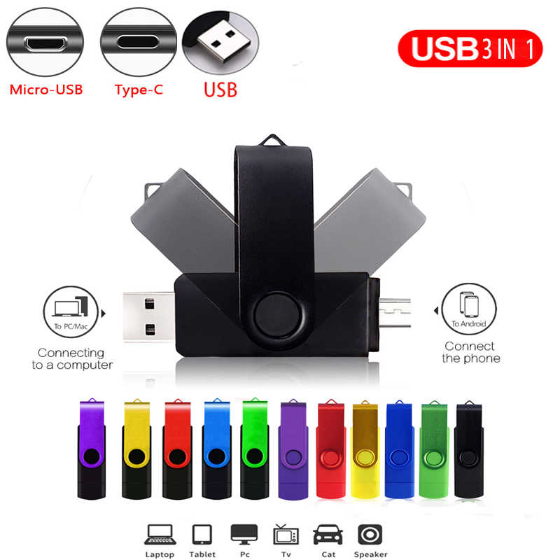 Metal OTG 3 IN 1 kalem sürücü 128GB mikro usb bellek çubuğu 32GB pendrive 64GB 16GB tipi C usb flash kalem 8GB cle usb flash sürücü 4GB