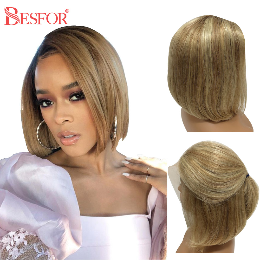 BESFOR Balayage 13*6 Lace Front Human Hair Bob Wig Straight Highlights Ombre Blonde Short Bob Wig With Baby Hair For Black Women