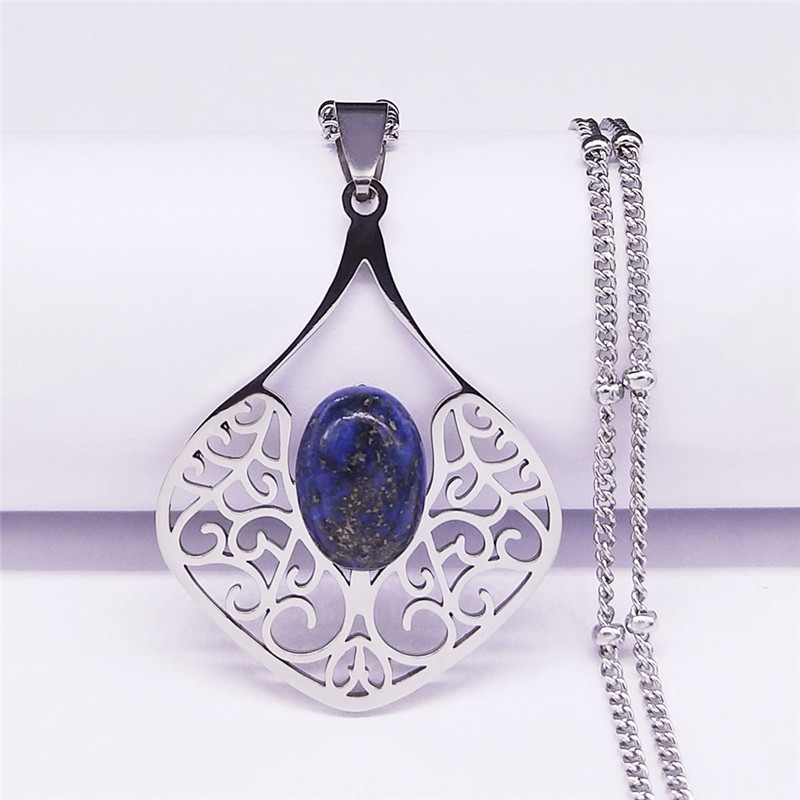 Boho Flower Natural Stone Stainless Steel Charm Necklaces Silver Color Bohemian Necklaces Women Jewelry collier femme N4458S04