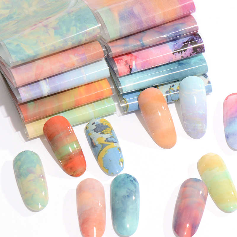 Gradiënt Regenboog Sterrenhemel Nail Folie Shimmer Japanse Syle Voor Nail Art Sticker Set Transfer Folies Diy Salon Wraps Decals