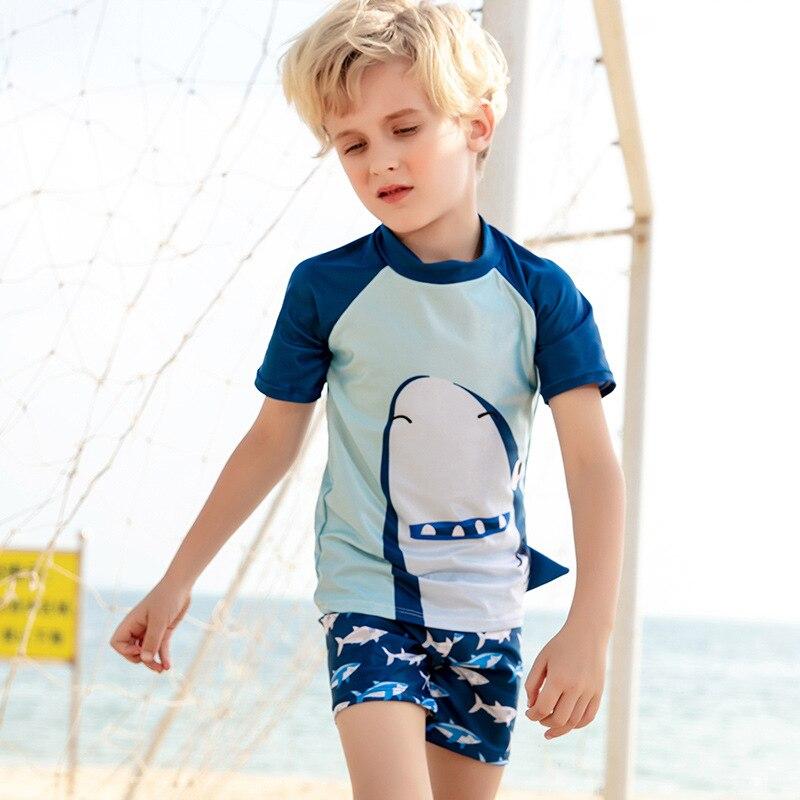 New Style CHILDREN'S Swimsuit Hot Springs Beach Holiday Great White Short Sleeve Boxer Infants Split Type Big Boy Bathing Suit