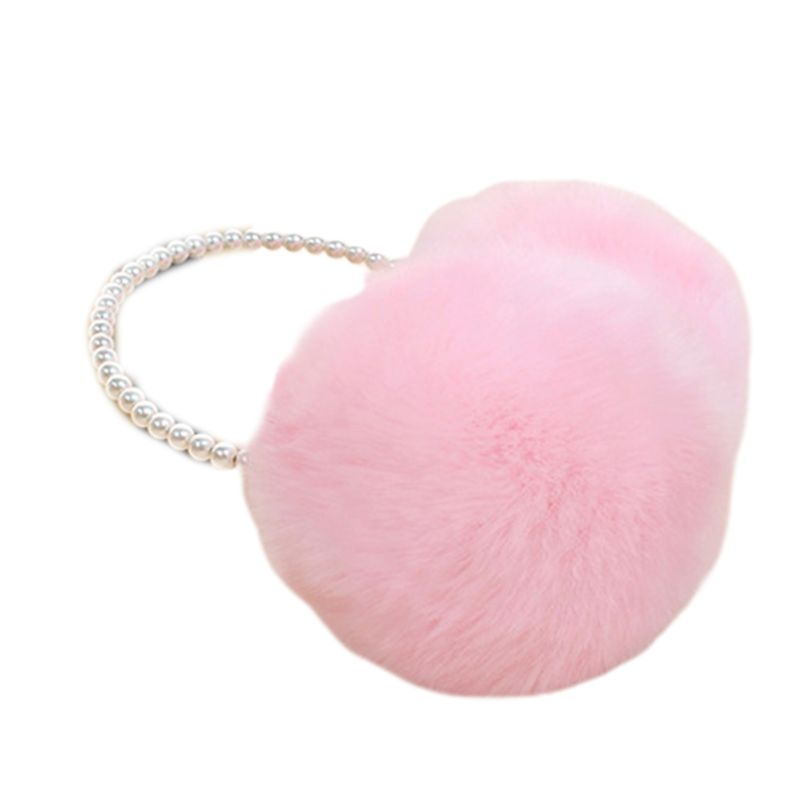 Women Girls Winter Fluffy Plush Earmuffs Imitation Pearl Beaded Headband Thicken Ear Warmer Princess Kids Party Styling Headwear