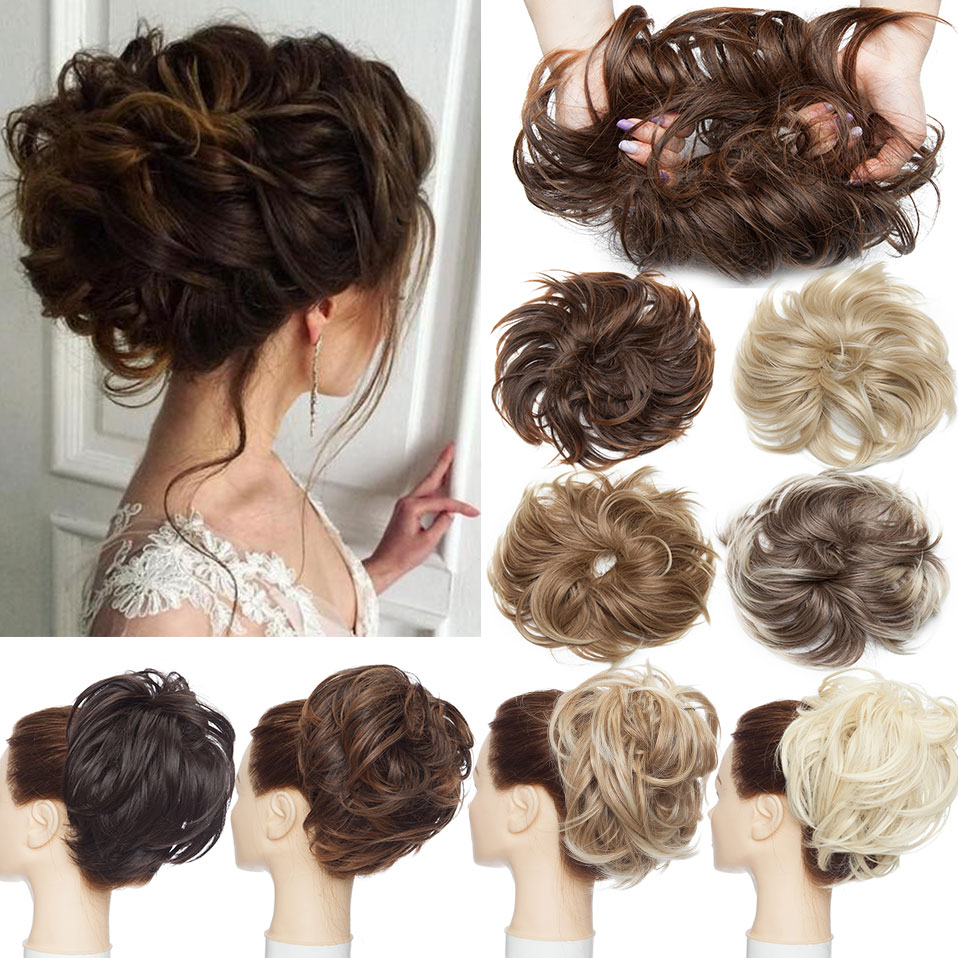S-noilite Synthetic Tousled Hair Bun Chignon Hair Elastic Band Messy Bun Hairpiece Short Ponytail Hair Extension For Women