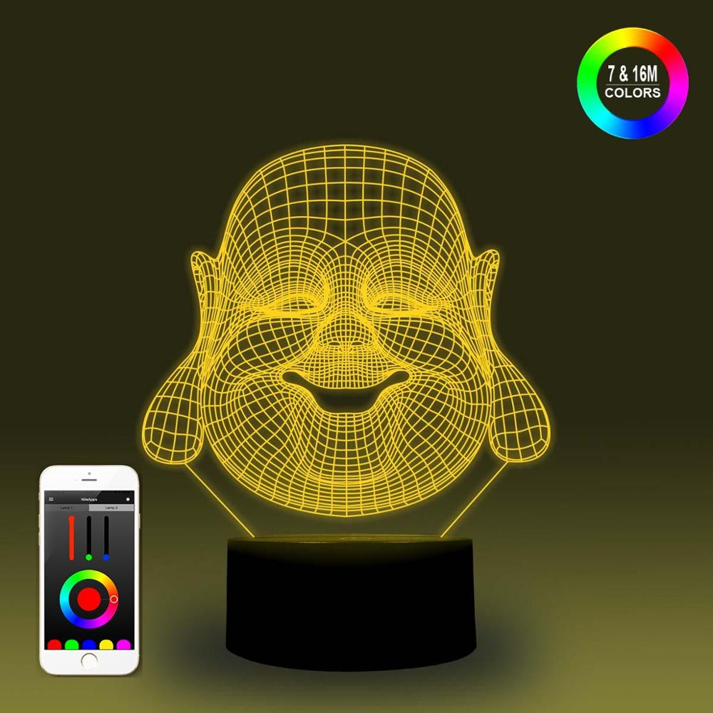 NiteApps 3D Smiling Head Night Light Desk Table Illusion Decoration Lamp Holiday Birthday Gift APP/Touch Control