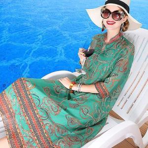 Silk dress card milan 2018 summer new favors printed silk dress is loose women silk dress