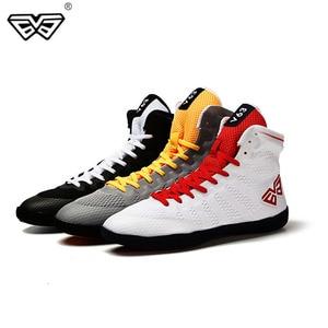 Zapatos de boxeo para hombre, suela de goma, zapatillas de lucha transpirables, disfraz de lucha libre, zapatos blancos y negros para lucha