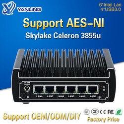 Pfsense computadoras intel Skylake celeron 3855u dual core mini pc sin ventilador 6 gigabit LAN firewall Compatibilidad de enrutador AES-NI 4 * USB3.0