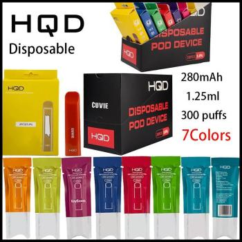 high quality HQD Cuvie Disposable Vape Pen Pod Device 280mAh Battery 1.25ml Cartridge 300 puffs Starter Kits