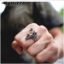 oulai777 men big ring stainless steel Wolf head fashion jewelry 2019 punk Ring animal mens seals pride vintage wide accessories