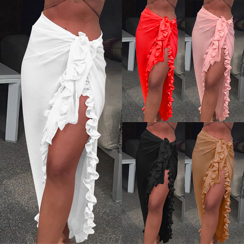 Simple Sexy Solid Ruffles Sarong Women Skirt Bikini Beach Dress 2019 Female Cover Up Chiffon Wrap Skirt Beach Skirt Bikini Dress