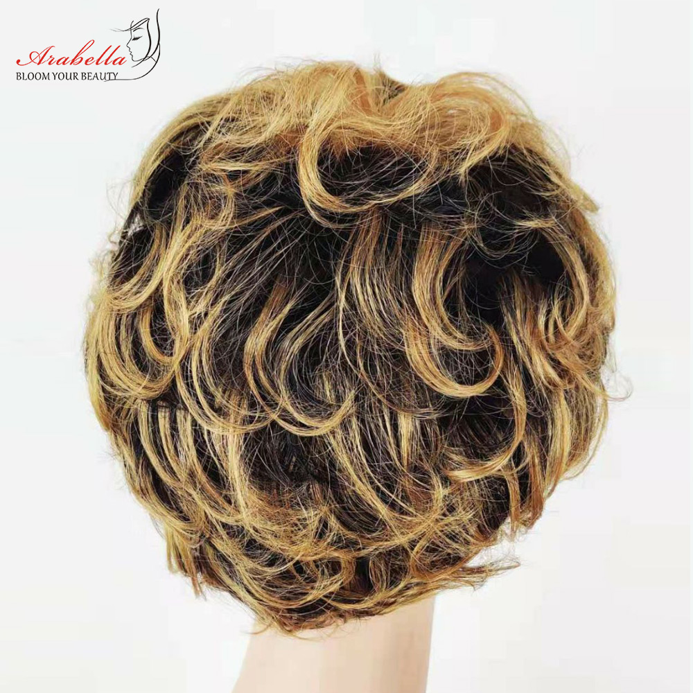 Straight Wig Ombre Glueless Wig 100%  Wigs Pixie Cut Wig  Highlight Arabella  Hair Wig With Bangs 5
