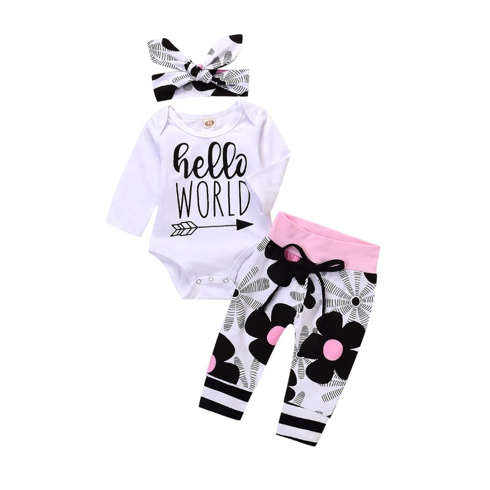Baby Girls Boys Floral Outfits Set Tops Pants Hat Newborn Toddler Clothes Romper