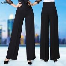 Pantalon de danse latine taille haute pour femmes, vêtement de salle de bal moderne, pantalon Long pour adultes, Costume noir, vente en gros