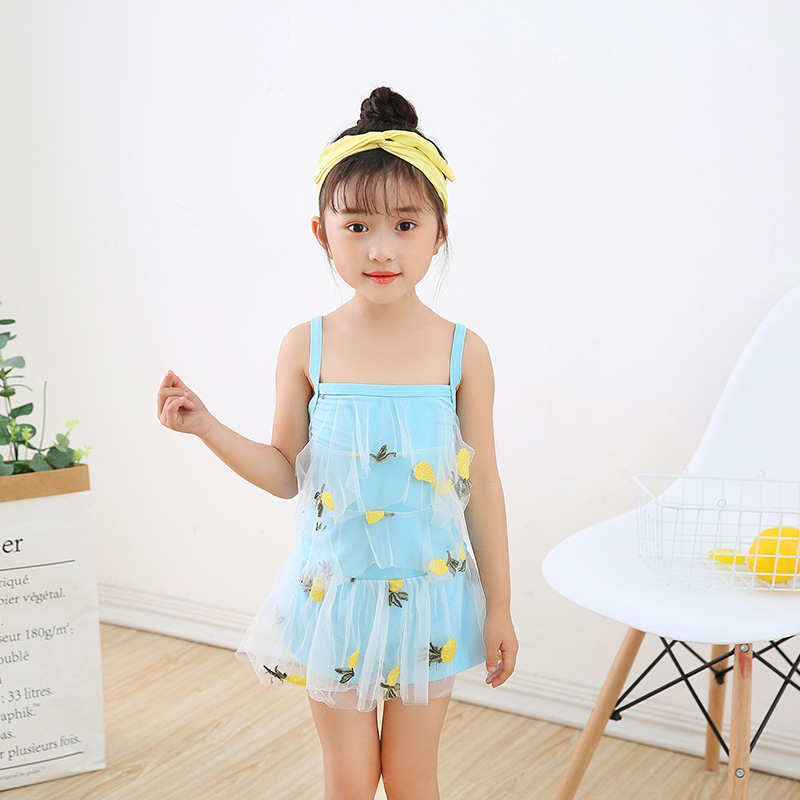 2019 New Style Camisole Gauze Backless Printed One-piece Swimsuit For Children Women's Princess Skirt Small CHILDREN'S Boxers Sw