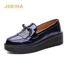 כל עונה ציצית מוקסינים נעלי נשים עור מפוצל גבירותיי מבטא אירי נעלי אמצע העקב הבוהן מחודדת אוקספורד נעלי עור לנשים