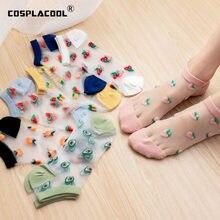 Meias femininas transparentes, meias finas engraçadas com renda frutas, transparentes, morango, melancia, pêssego, abacate, vidro, seda, calcetinas