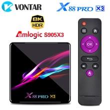 2020 X88 PRO X3 8K 4GB 64GB TV Box, Amlogic S905X3 Android 9.0 Set Top Box Dual Wifi Google Player Youtube Media Player