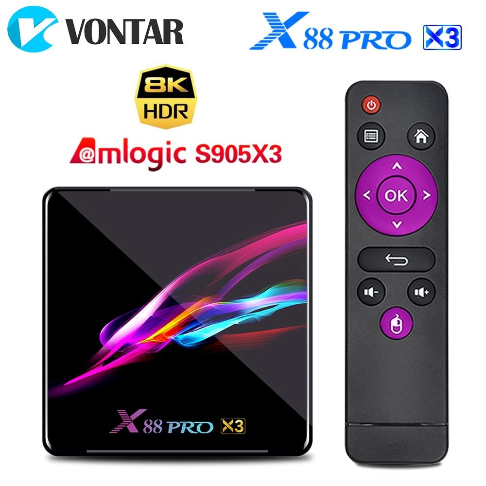 X88 PRO X3 8K 4GB 128GB TV Box Amlogic S905X3 Android 9.0 Set Top Box 1000M Dual Wifi Google Player Netflix Youtube Media Player