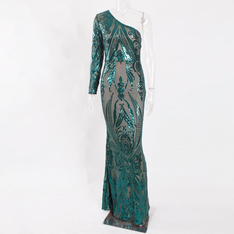 Um ombro verde lantejoulas maxi vestido uma manga longa festa à noite vestido de baile até o chão vestido longo outono inverno - 5