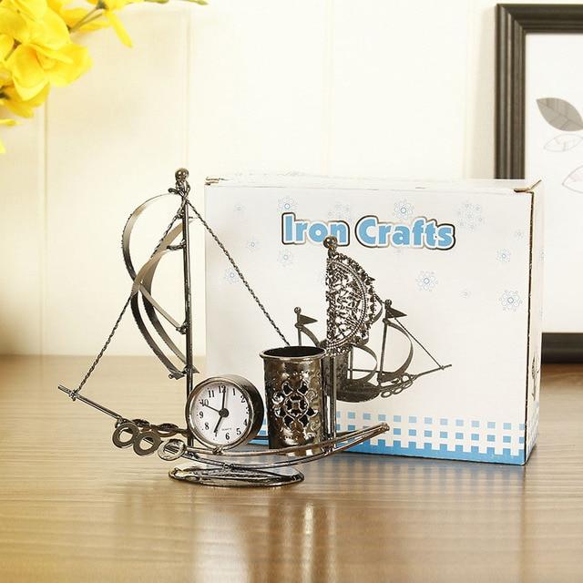 Home Decoration Creative Metal Clock Railing Boat Sculpture Vintage Ship Miniature Model Desk Decor Accessories Figurines Crafts 4