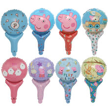 10pcs Figure Balloon Peppa George Foil Balloons Baby Shower Happy Birthday Party Room Dcorations Kids Toys Gifts Santa,captain(China)
