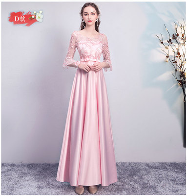 Burgundy Bridesmaid Dress Satin A-Line O-Neck Wedding Party Dresses For Women Sexy Dress Prom Azul Royal Vestido Champagne Pink