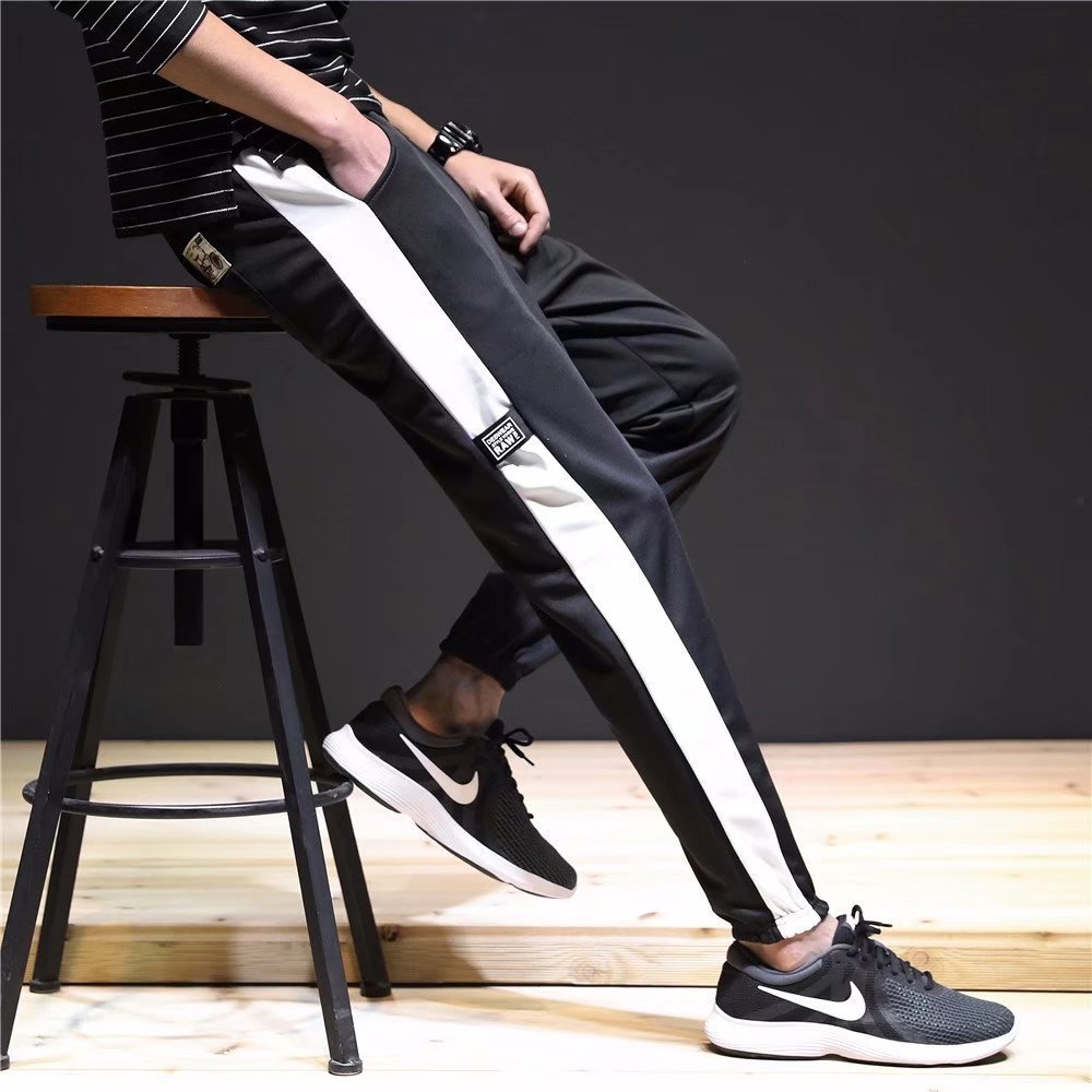 Summer INS Super Fire MEN'S Trousers Korean-style Trend Ankle Banded Pants BF Style Loose-Fit 9 Points Athletic Pants Hong Kong