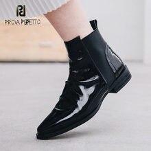 Prova perfetto feminino chelsea botas de couro feminino 2020 outono novo dedo do pé apontado de salto baixo retro plissado botas curtas