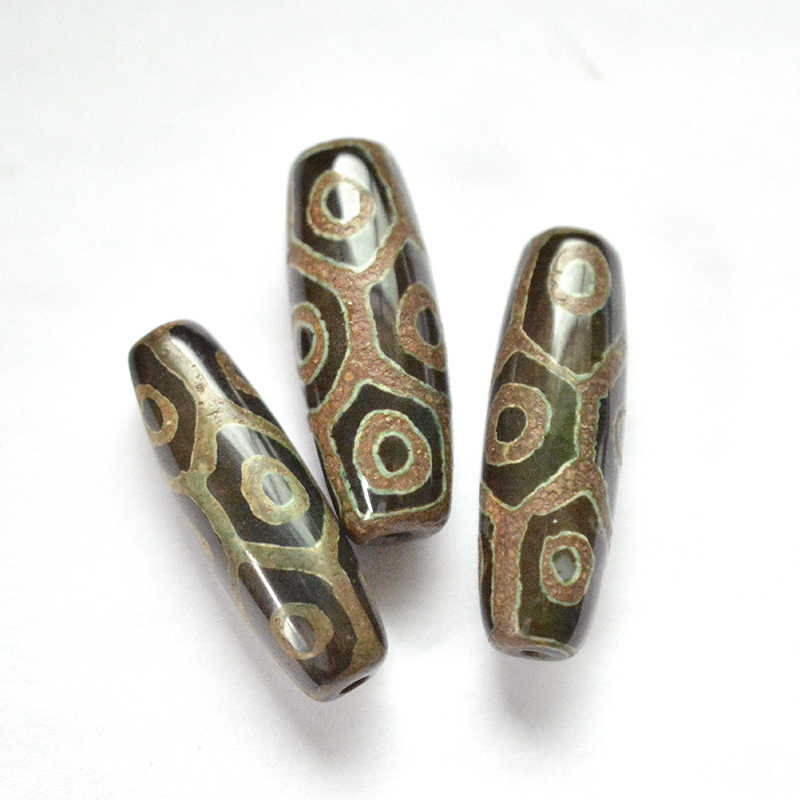 FLTMRH VINTAGEเครื่องประดับลูกปัดหินสีเขียวธรรมชาติทิเบตDzi Agatesลูกปัดหินรูปไข่เก้าEyedโบราณAgatesลูกปัดสำหรับผู้ชายWome