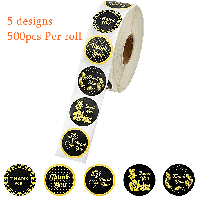 5 Designs Gold Black Thank You Stickers Party Holiday Sticker Scrapbooking For Package Seal Labels Stationery Sticker 500pcs