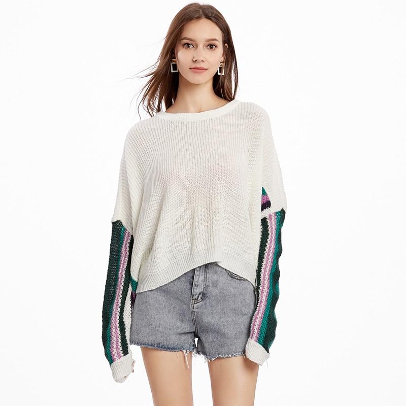 Automne chandail femmes blanc tricoté pull chandails hiver contraste couleur rayé Patchwork chemises à manches longues dames tissu lâche