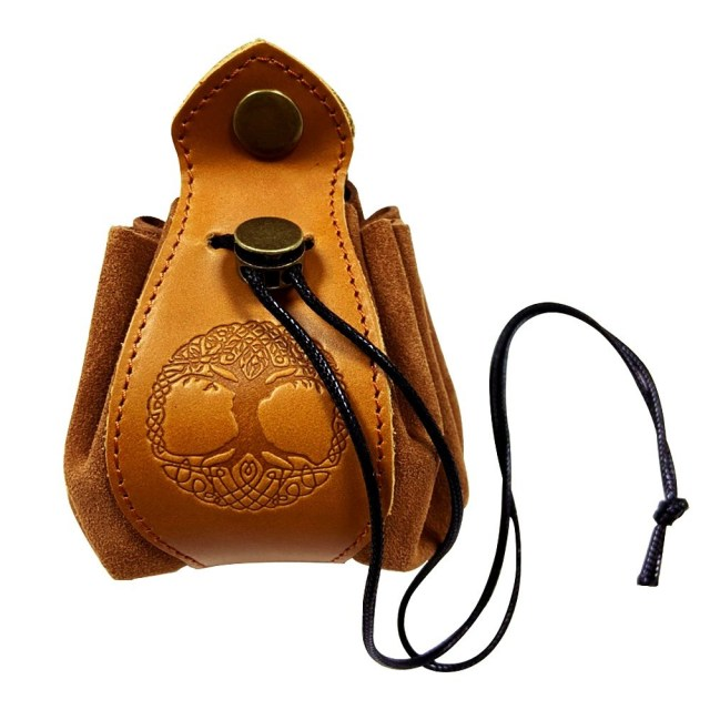 Handmade Celtic Drawstring Leather Pouch