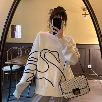 2020 New Autumn Winter Women Kawaii Sweater Vintage Fashionable Korean Style Elegant Print Knitwear Pullovers Tops Sueter Mujer