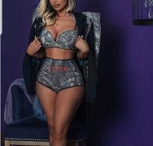 Sparkly Silver Rhinestones Outfit Set Women Singer Dance Bra Short Jacket Wear Nightclub Clothes Black Birthday