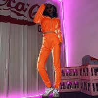2020New Fashion Shiny Orange Velvet Tracksuits Set Women Zip Up Hoodie and Joggers Pants Ladies Velour Long Sleeve Two Piece Set