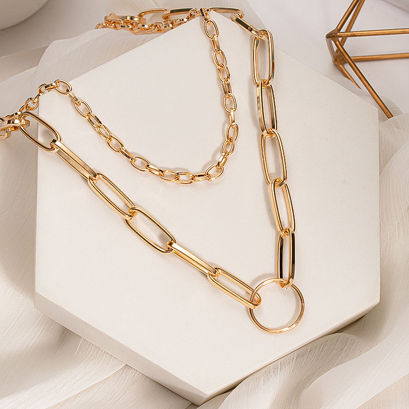 Punk Layered Chain Necklace Neck Chains for Women Vintage Exaggerated Golden Goth Hoop Metal Necklace 2020 Clavicle Jewelry